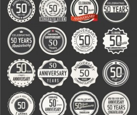 50th Anniversary label black with white vector