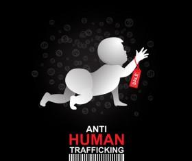 Anti human trafficking public service advertising templates vector 03