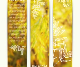 Autumn elements with blurs banner vector 01