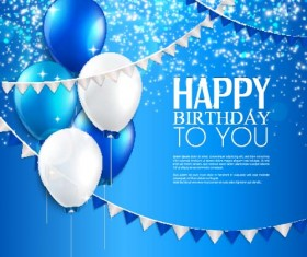 Balloons with triangle flag birthday card vector 01