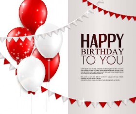 Balloons with triangle flag birthday card vector 02
