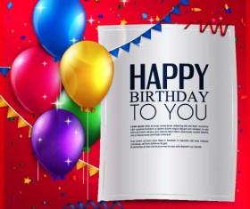 Balloons with triangle flag birthday card vector 04