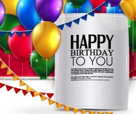 Balloons with triangle flag birthday card vector 05