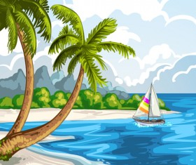 Hand Drawn Beach Black With White Vector 01 Free Download