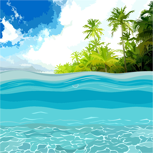 beach with sea scenery vector design 04 free download