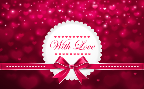 Beautiful bow with blurs valentines day card vector Vector Card – Beautiful Valentines Day Cards