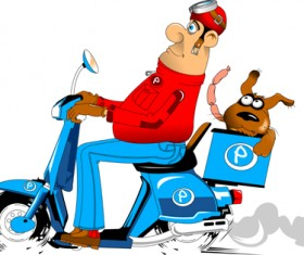 Best pizza delivery cartoon styles vector 04