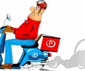 Best pizza delivery cartoon styles vector 06
