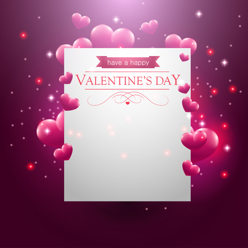 Blank Paper With Heart Valentines Day Card Vector