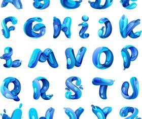 Blue water alphabets vector
