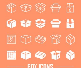 Box outline icons set