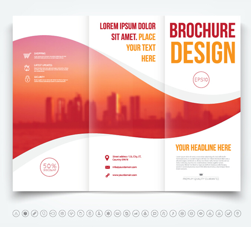 Brochure Trifold Cover Template Vectors Design Vector Cover - Tri fold brochure design templates