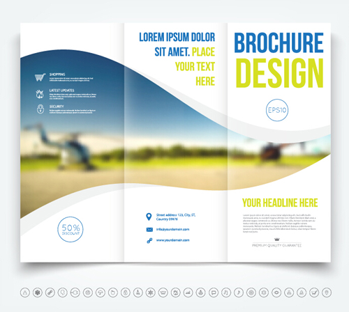 Brochure tri fold cover template vectors design 06
