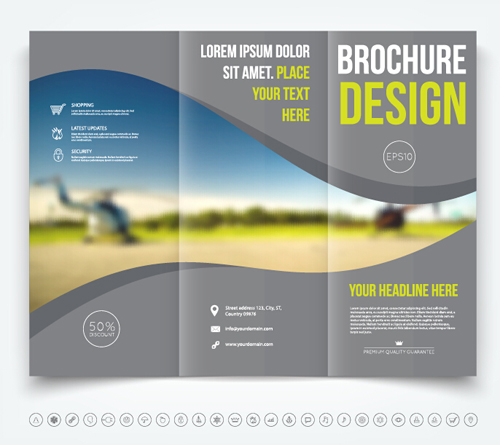 Brochure tri fold cover template vectors design 07 for Free tri fold brochure template download