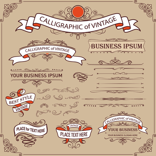 calligraphic ornaments with vintage ribbon and frame vecctor