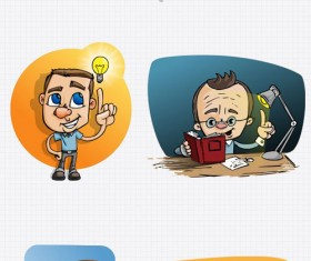 Cartoon Teacher PSD set