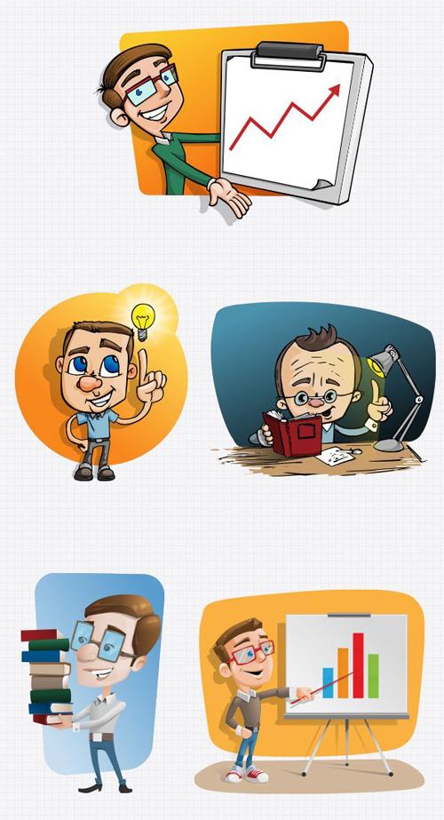 Cartoon Teacher PSD set