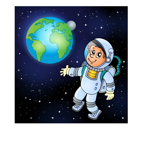 cartoon astronaut in outer space -#main