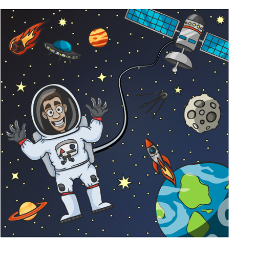 Cartoon astronauts with outer space vector 03 vector for Outer space industrial design