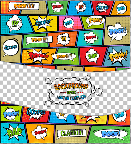 cartoon speech bubbles with background template vector 03 free download