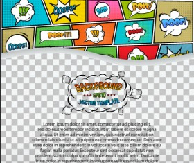 Cartoon speech bubbles with background template vector 16