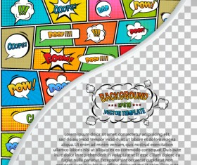 Cartoon speech bubbles with background template vector 19