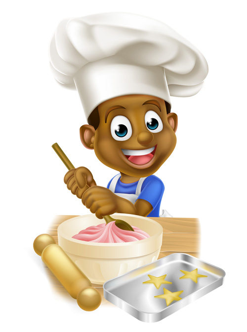 Chef boy kid vector material