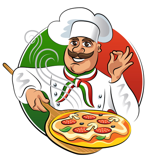 Chef with pizza vector material free download