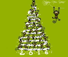 Christmas trees with monkeys new year vector 02