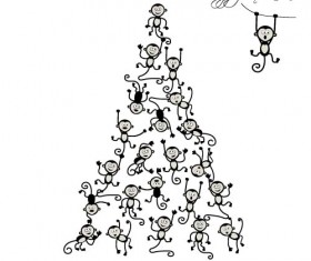 Christmas trees with monkeys new year vector 03