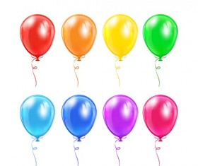 Colored balloons template vector material 01