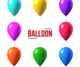 Colored balloons template vector material 02