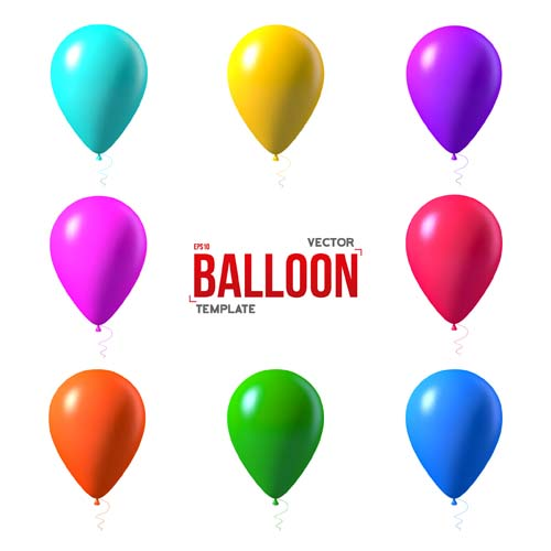 colored balloons template vector material 02 free download