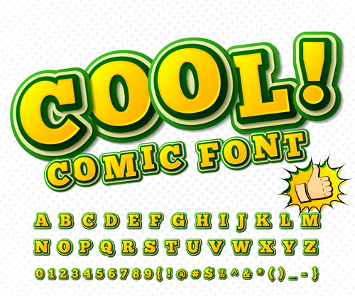 comic styles fonts design set 04