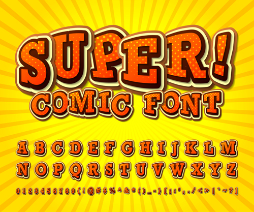 comic styles fonts design set 05