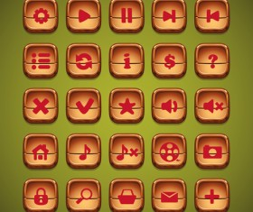 Computer games and web design wooden icons set