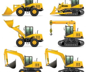 Construction vehicles design vectors set 01