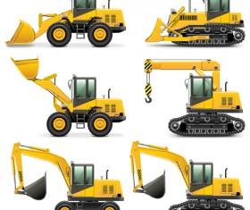 Construction vehicles design vectors set 01