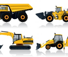 Construction vehicles design vectors set 03