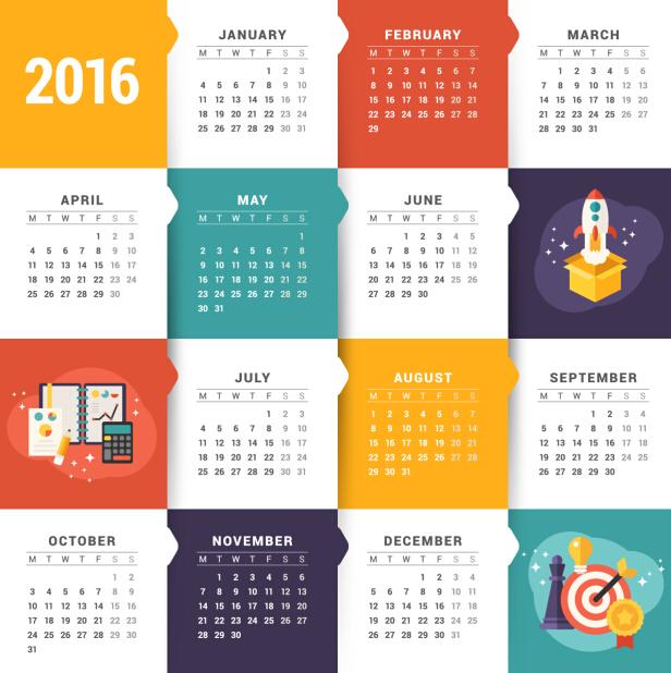 Creative Calendar 2016 Template Vector 01 Free Download