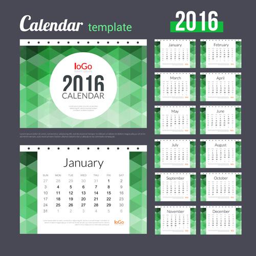 Creative Calendar 2016 Template Vector 04
