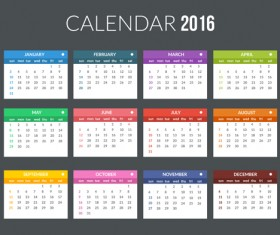 Creative Calendar 2016 template vector 07