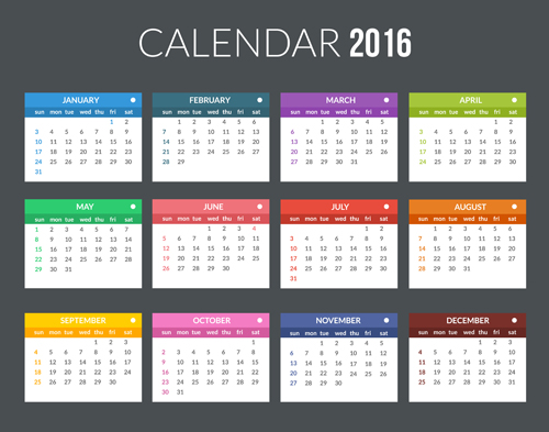 Creative Calendar 2016 Template Vector 07 Free Download