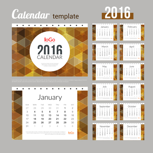 Creative Calendar 2016 Template Vector 10