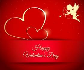 Cupid angel with golden heart valentines day vectors 02