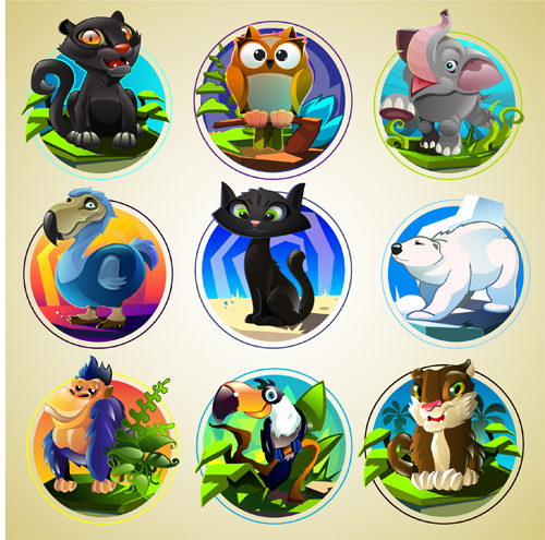 Cute animal round icons set 02