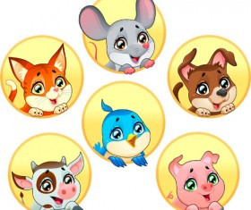 Cute animal round icons set 03
