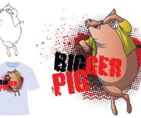 Cute bigger pig for T-shirt vector 01