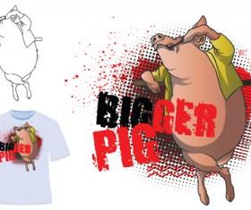 Cute bigger pig for T-shirt vector 01