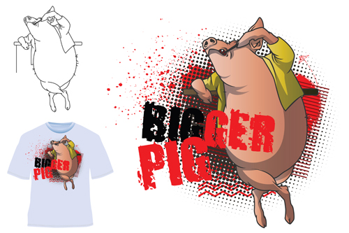 Cute bigger pig for T shirt vector 01